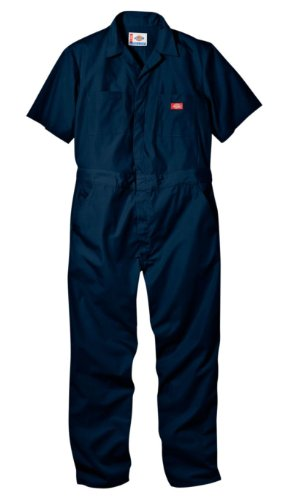 Dickies Men's Short Sleeve Coverall, Dark Navy, Large Short -