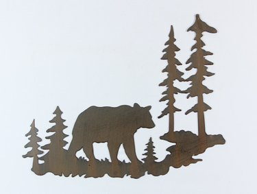 Bear Laser Cut Metal Wall Art