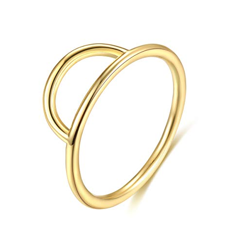 (Womens 14k Gold Starking Rings,Double X Criss Cross Open Bar Double Bar Parallel Cuff Half Circle Infinity Adjustable Ring Engagement Wedding Lady Girls Band(Ring-Arcs-6))