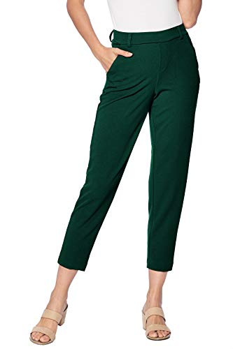 One5One Stretch Pull-on Casual Cropped Work Trouser Office Dress Pants Pockets Size L Spruce