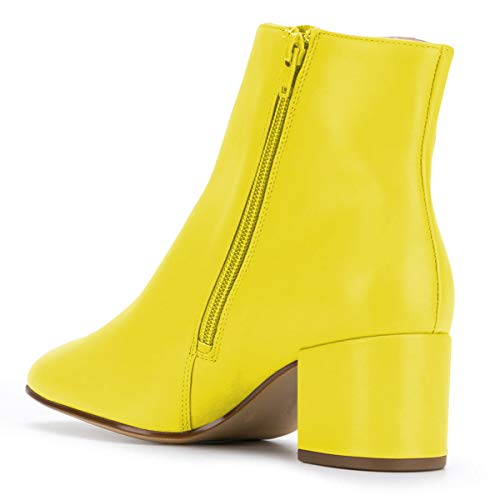 Mid Side Women YDN Boots Block Heel Yellow Zip Shoes Toe Booties Ankle Pointed with Zqgwp