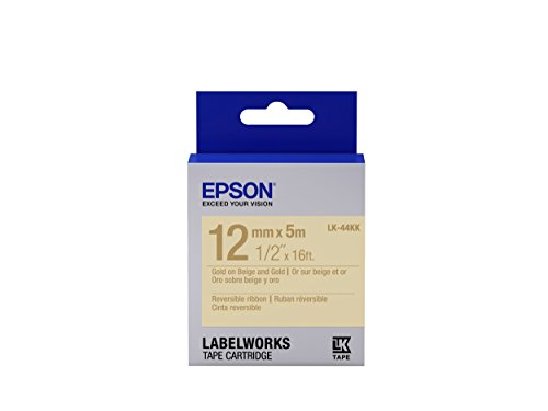 "Epson LabelWorks Reversible Ribbon LK (Replaces LC) Tape Cartridge ~1/2"" Gold on Beige & Gold (LK-44KK) - For use with LabelWorks LW-300, LW-400, LW-600P and LW-700 label printers"