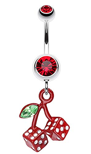 Vibrant Cherry Dice Belly Button Ring (14 GA, Length: 10mm, Red)