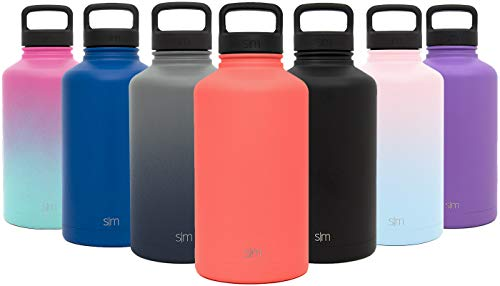 Simple Modern 40 Ounce Summit Water Bottle - Stainless Steel Liter Flask +2 Lids - Wide Mouth Tumbler Double Wall Vacuum Insulated Orange Leakproof -Honolulu