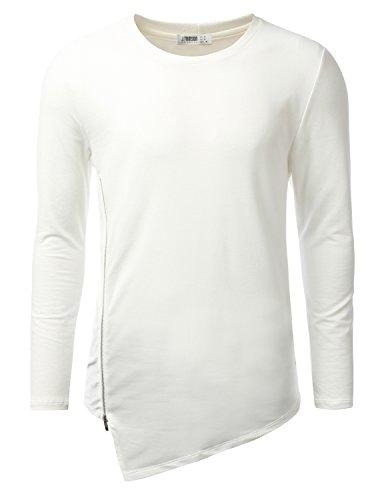 iDarbi Mens Crewneck Long Sleeve T-Shirt Jersey WHITE XLARGE