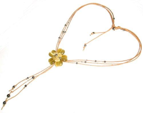 Collier cordon de fleur Beige