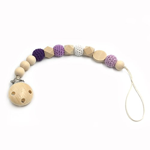 Amyster Nursing Geometric Wooden Teether Crochet Beads Pacifier Clip Dummy Holder Natural Color Silk Cord Baby Teether Gift