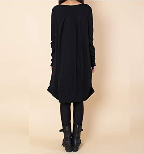 Longues Manches Femmes Lache Poche Elonglin Tuniques avec Asymtrique Noir Casual Chemisier Simples Chemise Rond Col Y0EqEdw