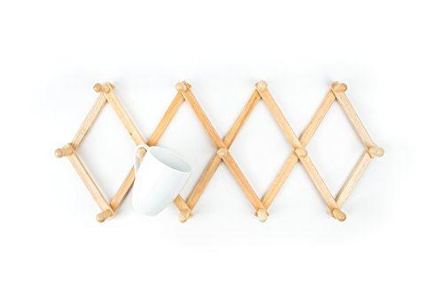 Fox Run Expanding Beechwood Coffee Mug Wall Rack (Coat Rack That Hangs On Wall)