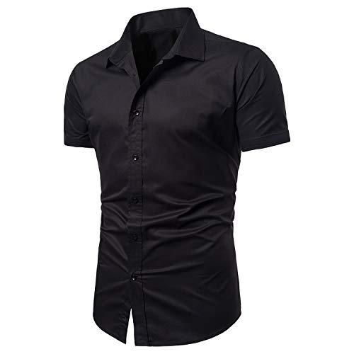 (LOCALMODE Men's Slim Fit Cotton Business Casual Shirt Solid Short Sleeve Button Down Dress Shirts (Medium, Black))