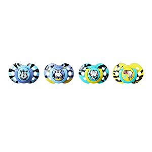 Tommee Tippee Closer to Nature Fun Style Baby Pacifier, 6-18m – 4 Count, Multi-Colored