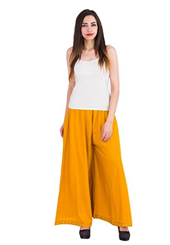 01db8bd9fa Fab Attire Indian Ethnic Rayon Designer Bottom Mirror Lace Yellow Color  Palazzo Pant for Women's &