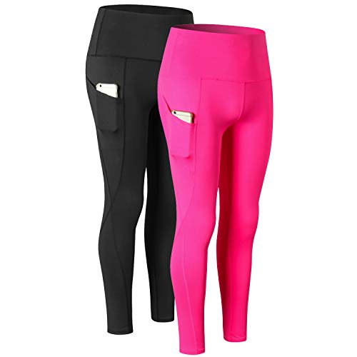 Century Star High Waisted Yoga Pants for Women with Pocket Tummy Control Plus Size Sports Leggings 2 Pack-Black,Rose X-Large ()