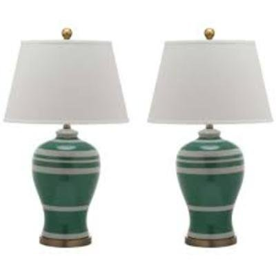 Safavieh Lighting Collection Pottery Stripe Ginger Jar Green 29-inch Table Lamp (Set of 2)
