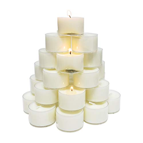 CandleNScent 8hr Soy Tea Lights Candles | 30 Tealight Candles in Clear Cup - Decorations for Wedding, Birthday, Holiday Party | White Soy Wax in Cups (Lights Tea Soy)