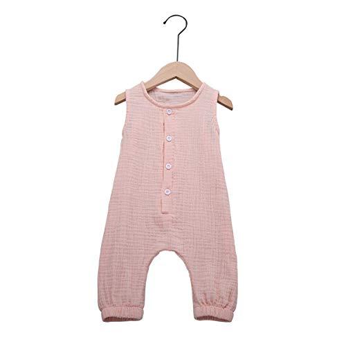 Cecobora Newborn Baby Boys Girls Romper Jumpsuit Cotton Linen Sleeveless Ruffled Bodysuit Infant Summer Clothes Outfits (Pink, 12-24 Months) ()