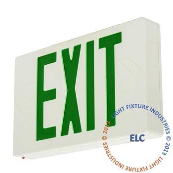 LFI Lights - Green LED Exit Sign - Standard Battery Backup - LEDGBB
