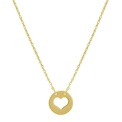 Amanda Rose 14k Yellow Gold Cut Out Heart Disc Necklace on an Adjustable 16-18 in. Chain Cut Out Disc Necklace