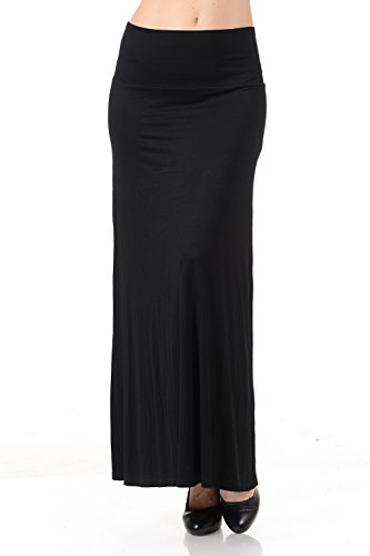 Womens Ladies Black Skirt (Women's Solid High Waist Full Length Maxi Skirt (Small,)