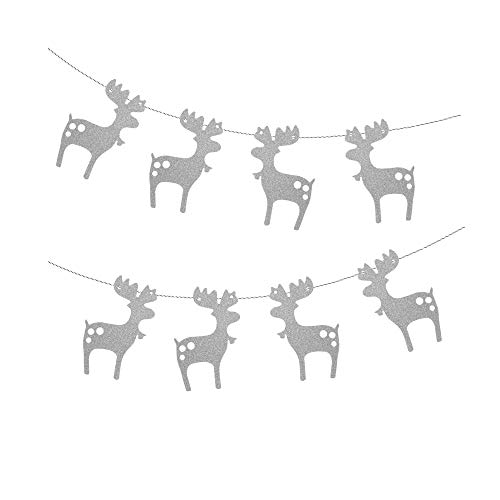 - Treasures Gifted Merry Christmas Garland Celebrate a Holiday Silver Glitter Paper Garland Bunting Santa Sleigh Reindeer School Office Winter Wonderland Party Decorations