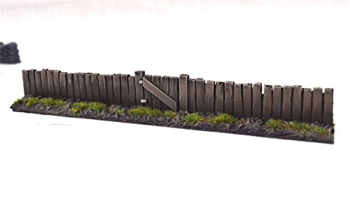 (wws Wooden Fence Section with Gate by Pack of 3 - Dioramas, Layouts, Terrain,)