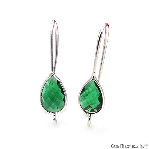 (Emerald Teardrop Gemstone Hook Earring, 28X8MM Silver Plated Earring, Pear Shape Earring, DIY Earrings, Single Bail, GemMartUSA (SPHE-90117))