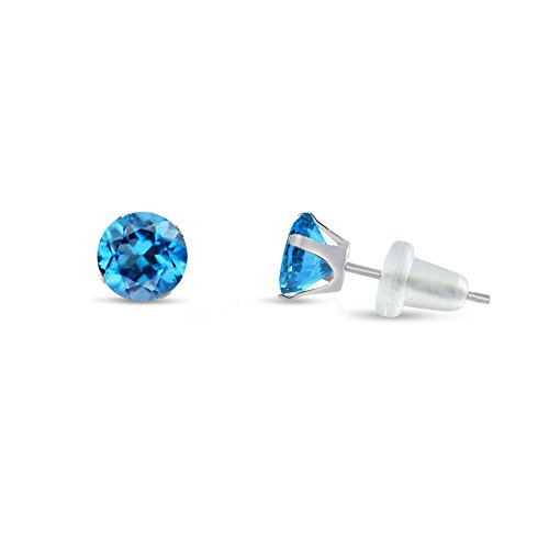 Gold Genuine Swiss (Round 3mm 10k White Gold Genuine Swiss Blue Topaz Stud Earrings, December Birthstone, (0.22 cttw))