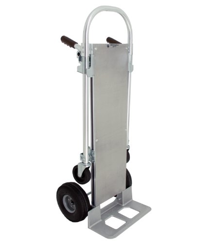 RWM Casters Aluminum Convertible Hand Truck with Loop Handle and Aluminum Deck, Rubber Wheels, 500 lbs Load Capacity, 51
