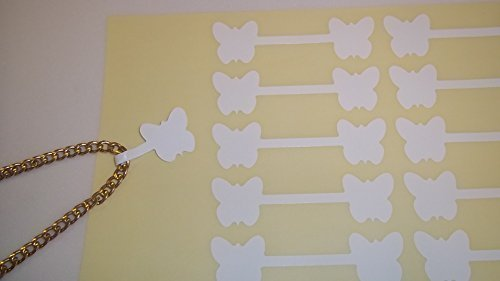 50 Grande Bianco Farfalla Forma Gioielleria Prezzo Etichette / Prezzo Adesivi / Dumbell Forma Etichette Audioprint Ltd.