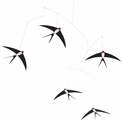 5 Flying Swallows Hanging Mobile - 24 Inches Cardboard - Handmade in Denmark by - Kinetic Mobile
