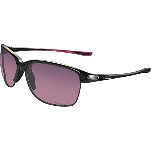 Oakley Women's OO9191 Unstoppable Rectangular Sunglasses, Polished Black/Rose Gradient Polarized, 65 mm