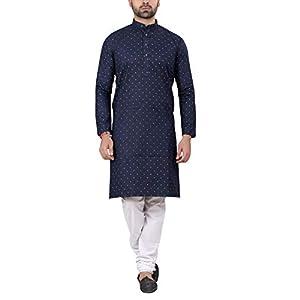 RC Ethnic Men's Dark Blue Printed Denim Cotton Kurta Pyjama Set