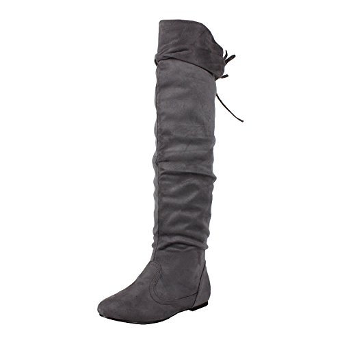 West Blvd Womens BANGKOK THIGH HIGH Boots Over The Knee Flat Heels Winter Faux Suede Leather Shoes, Grey Suede, 7