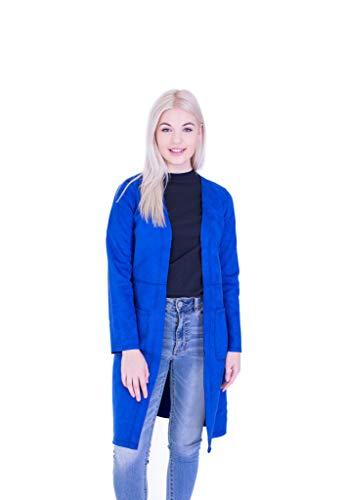 Solitaire Faux Suede Coat (Royal Blue, Small) (Suede Length Coat Faux)