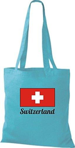ShirtInStyle Bolso de tela Bolsa de algodón Yute de país Suiza Suiza - fucsia, 38 cm x 42 cm sky