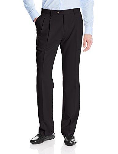 Mens Microfiber Double Pleat Pants - Cutter & Buck Men's Twill Microfiber Pleated Pant 34 Inch, Black, 32x34
