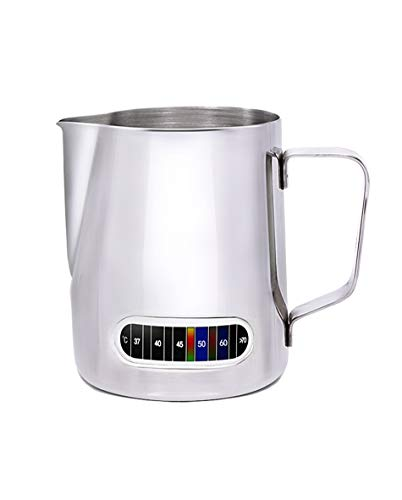 (Milk Frothing Pitcher with Thermometer, Stainless Steel Control Temperature Milk Frothing Pitcher Coffee Tools Cup 20 oz (600 ml))