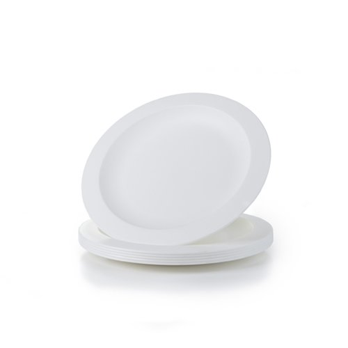 Amuse- Unbreakable and Reusable Plastic Plate Set- BPA Free- Set of 6-9.65 in. (White)