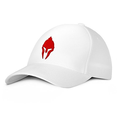 Spartan Warrior Molon Labe Military Baseball Hat Large/X-Large Red on White ()