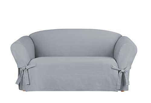 (Sure Fit Heavyweight Cotton Duck Loveseat Slipcover - Pacific Blue)
