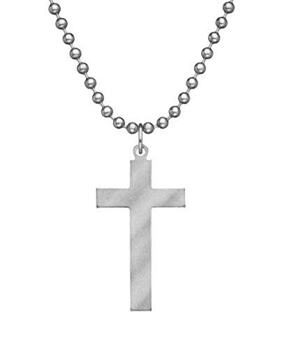 GI JEWELRY - Genuine U.S. Military Issue Long Cross With Beaded Chain - 24