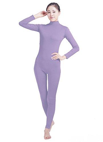 Costumes And Dancewear Inc (Ensnovo Womens Turtleneck Spandex Long Sleeve Front Zipper Footless Unitard LightPurple, M)