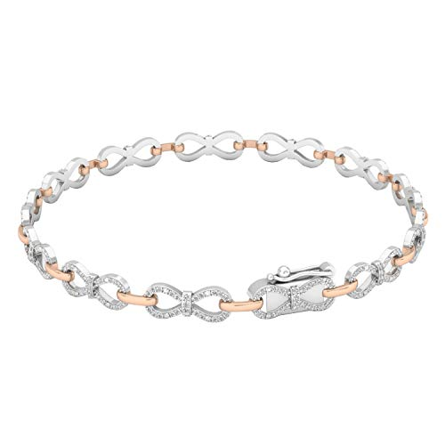 - Dazzlingrock Collection 0.55 Carat (ctw) 14K White & Round Diamond Ladies Infinity Tennis Link Bracelet 1/2 CT, Rose Gold