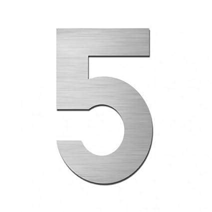 Número para casa (número 5, acero inoxidable, adhesivo ...