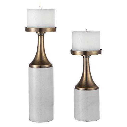 Uttermost Castiel Marble Candleholders, Set/2