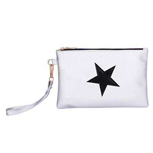 NEWONESUN Women Leather Star Pattern Zipper Clutch Bag Makeup Pouch Coin Bag (Bag Evening Pouch Metallic)
