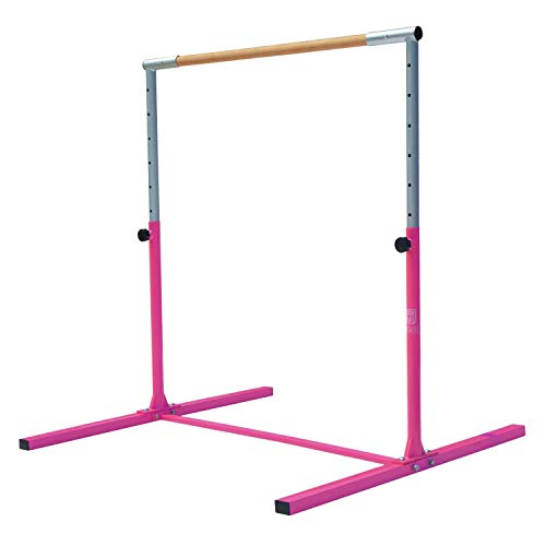 Modern-Depo Junior PRO Gymnastics Kip Bar | Adjustable (3'- 5') Training Horizontal Bar Beech Wood - Pink by Modern-Depo (Image #1)
