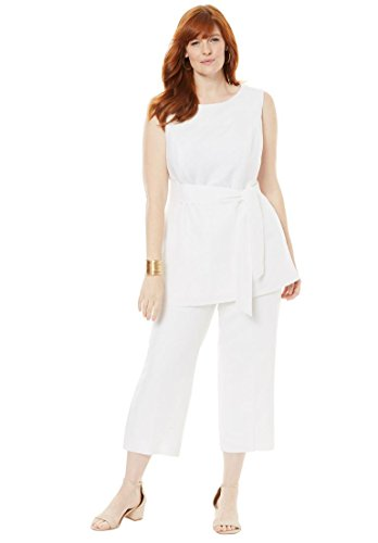 Linen Capri Set - Jessica London Women's Plus Size Linen Blend Capri Set - White, 16