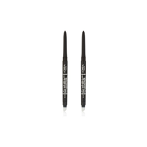 L'Oréal Paris Makeup Infallible Never Fail Eyeliner, mechanical pencil eyeliner, built-in sharpener and smudger tip, creamy liner glides easily, fade and smudge proof, up to 16hr wear, Black, 2 Count by L'Oreal Paris