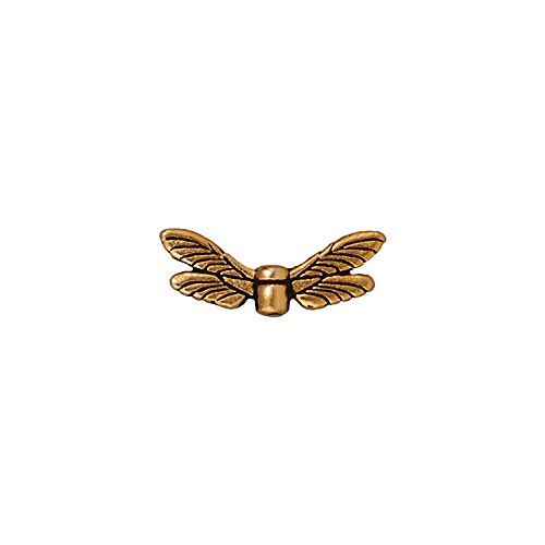 TierraCast Dragonfly Wings, 7x20mm, Antiqued 22K Gold Plated Pewter, 4-Pack